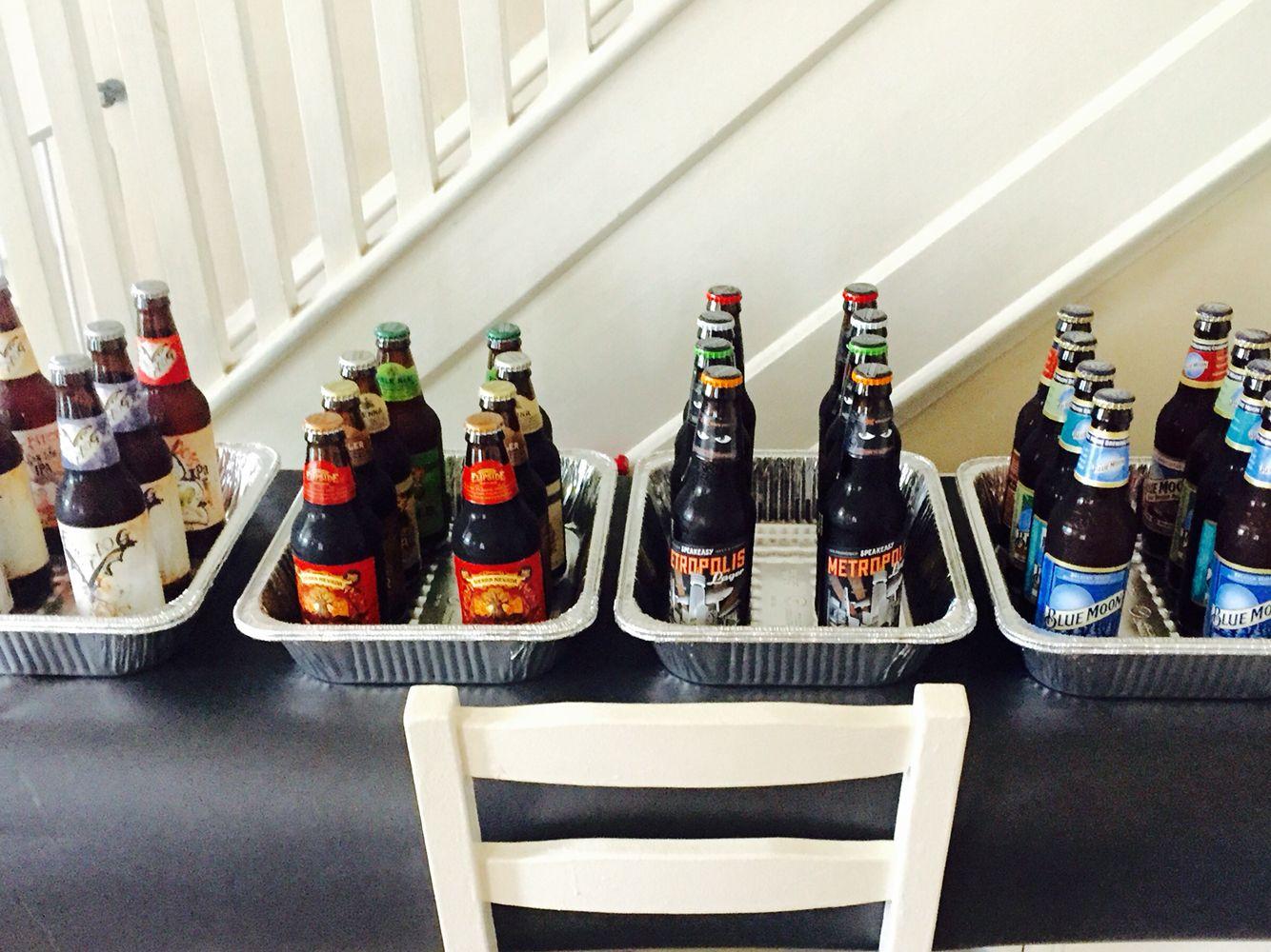 Living room desk converted to 15 beer sample station!