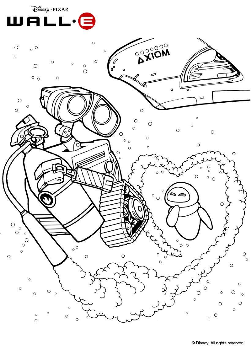 Un joli coloriage sur Wall-E avec Wall-e et Eve dans l ...