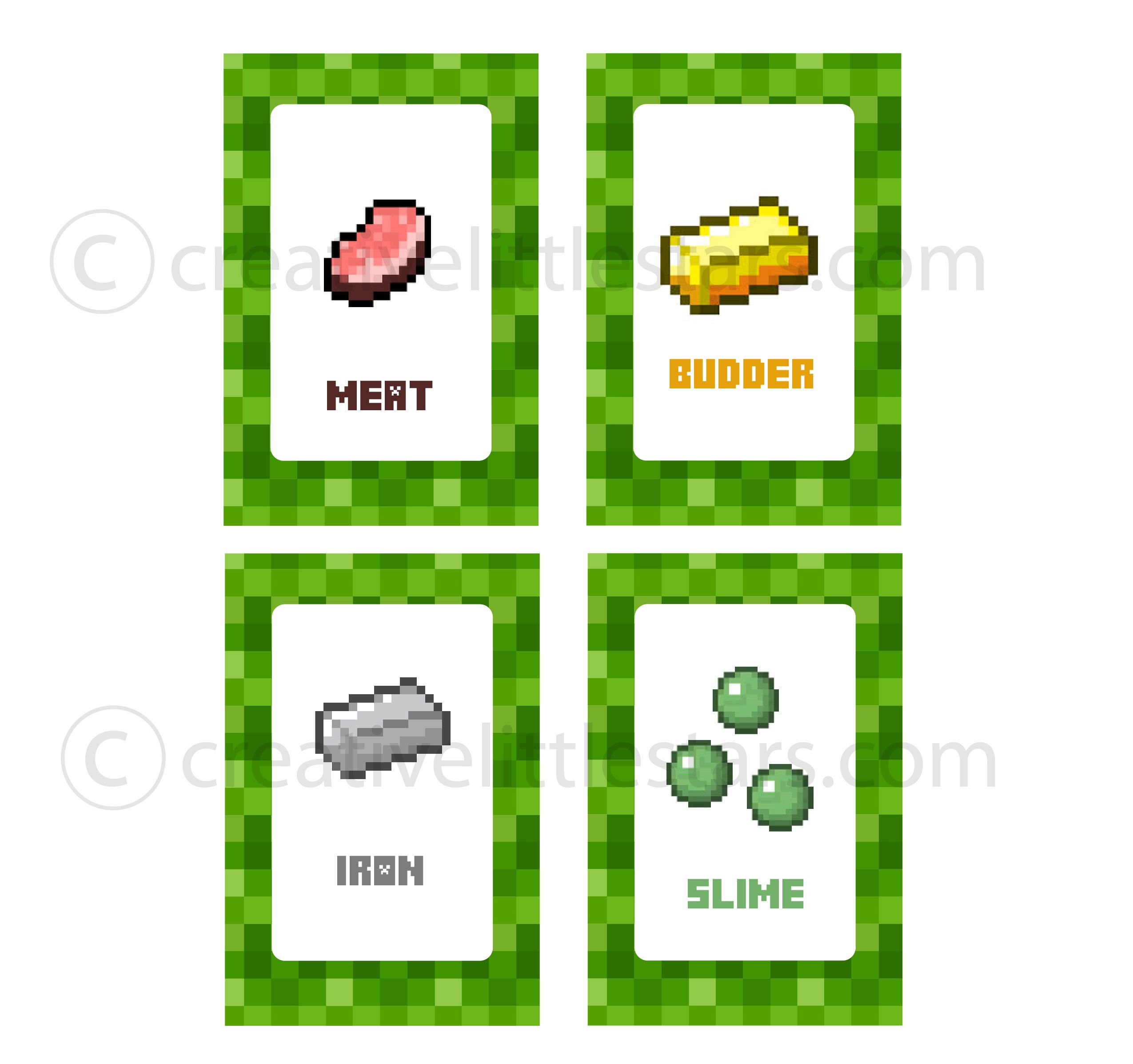 free printable minecraft food tent labels bing images minecraft