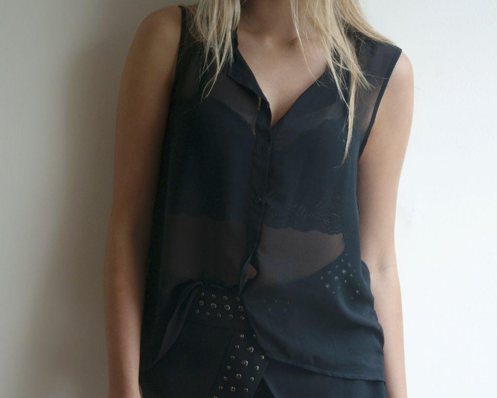 Black lace - elegante blusa negra con top