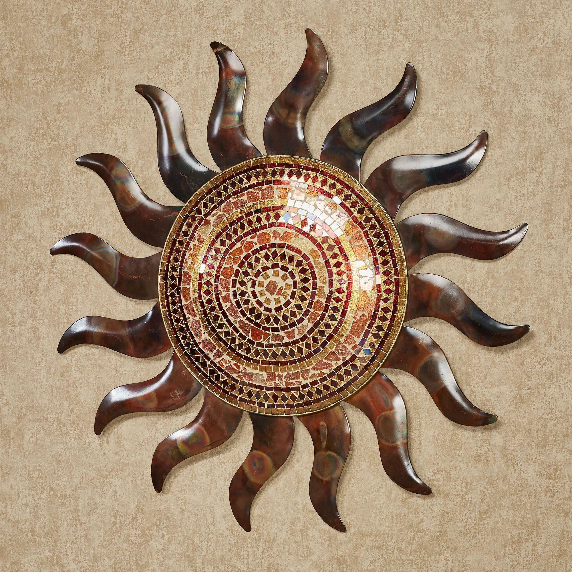 Mosaic Sun Indoor Outdoor Mosaic Glass And Metal Wall Art Outdoor Copper Wall Art Copper Wall Art Sun Wall Decor
