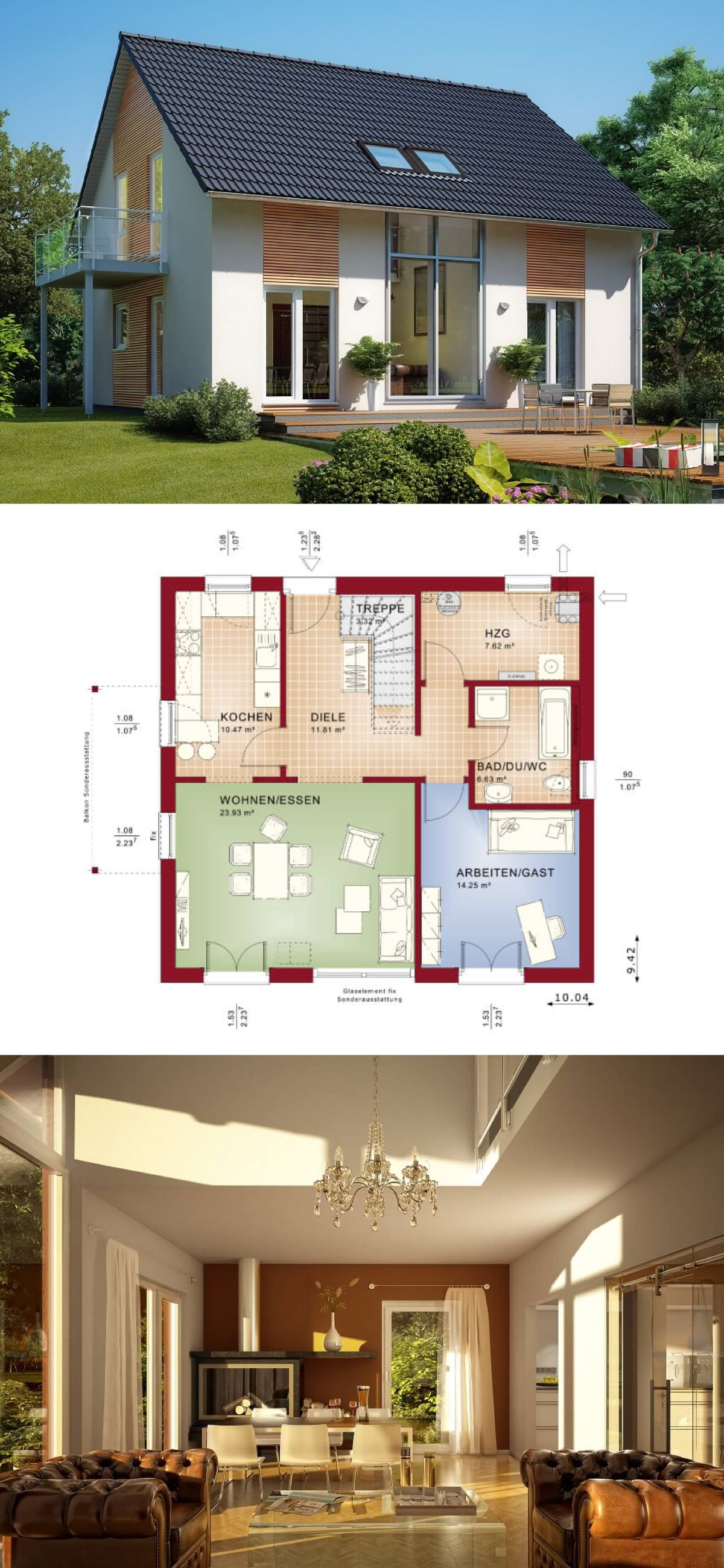 Modernes Einfamilienhaus Mit Galerie Und Satteldach Architektur Grundriss Haus Ideen Celebration 150 V2 Bien Zenker Fertighau Fertighaus Bauen Traumhaus Haus
