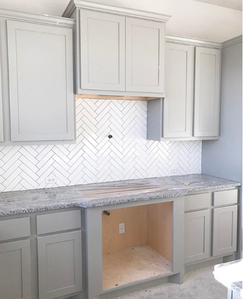 2 X 8 Bright White Subway Tile Herringbone Pattern With Mapei Warm Grey Grout Kent Moore Ca Backsplash For White Cabinets Kitchen Design Kitchen Renovation