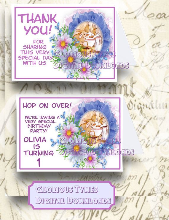 Peter Rabbit Birthday Invitation and Thank You by GloriousTymes