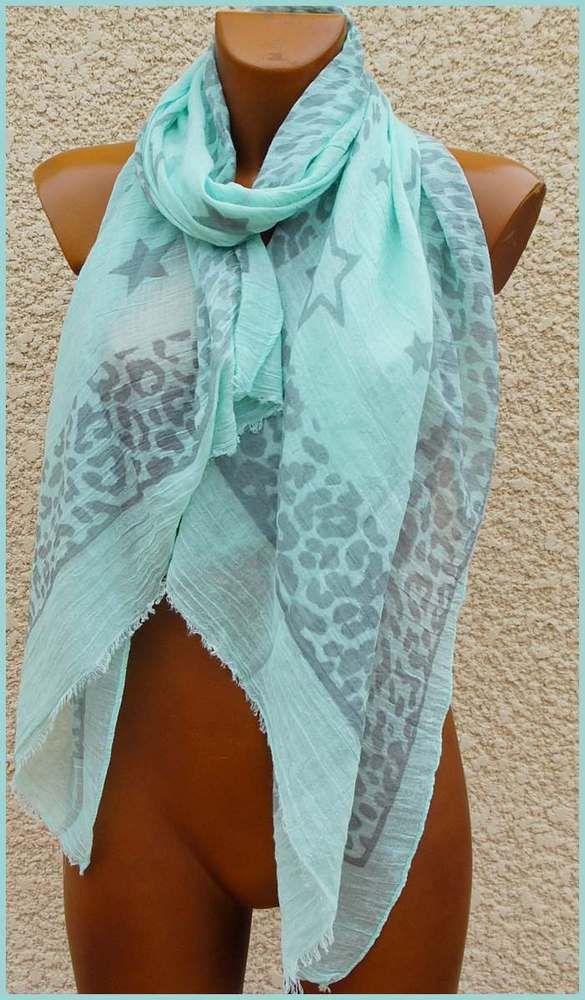 Foulard echarpe etole femme etoile vert lagon   Etole femme, Etole ... 2f0ffa5f18a