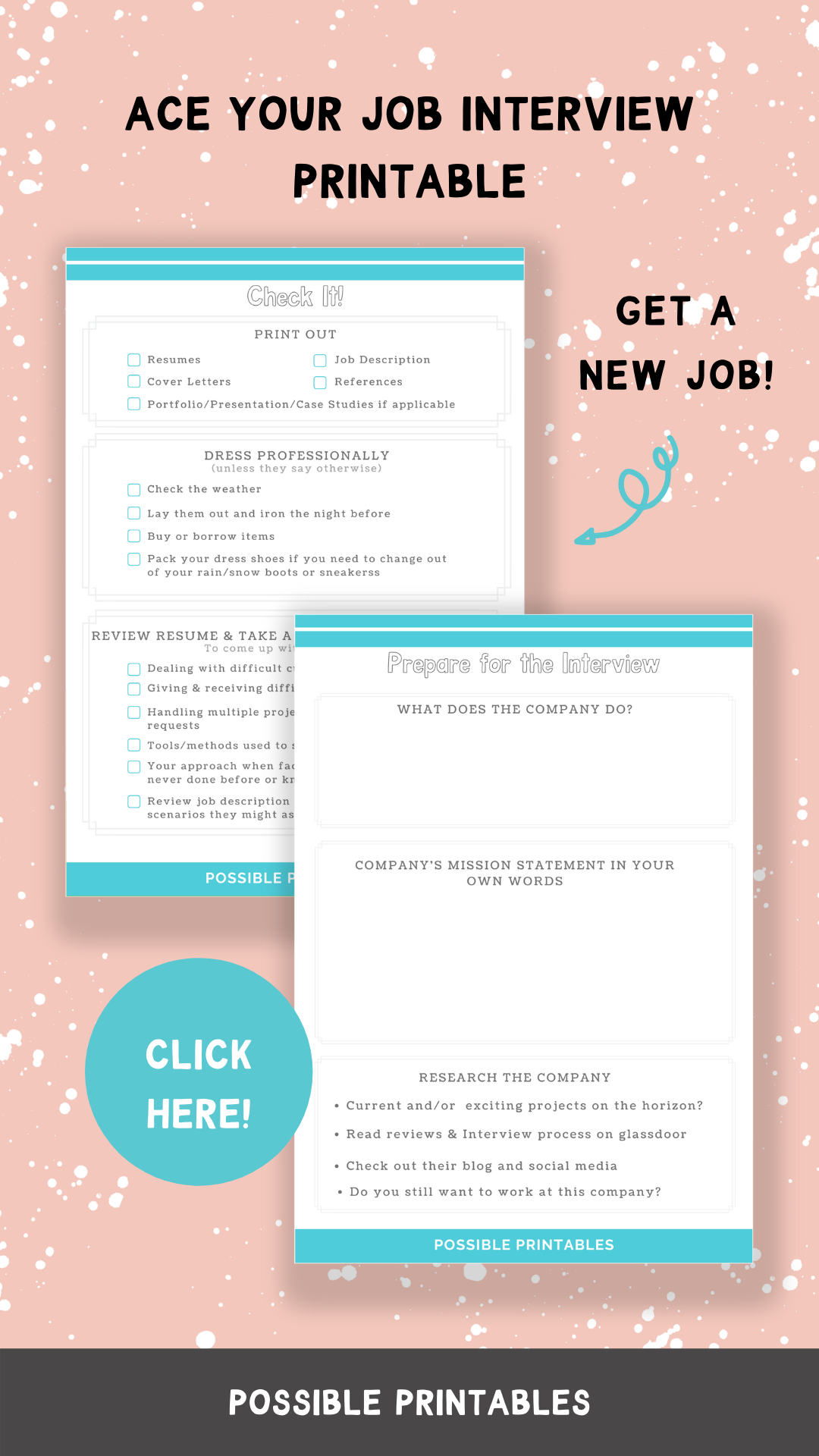 Job Interview Planner Printable A4 A5 Us Letter