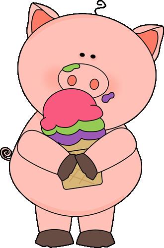 Pig Eating Ice Cream Clip Art Pig Eating Ice Cream Image Pig Cartoon Pig Art Pig