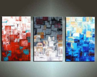 Abstract Painting, 66'' X 32''x1.5'' Original HUGE Deep Canvas Palette Knife Textured Painting Ready to Hang