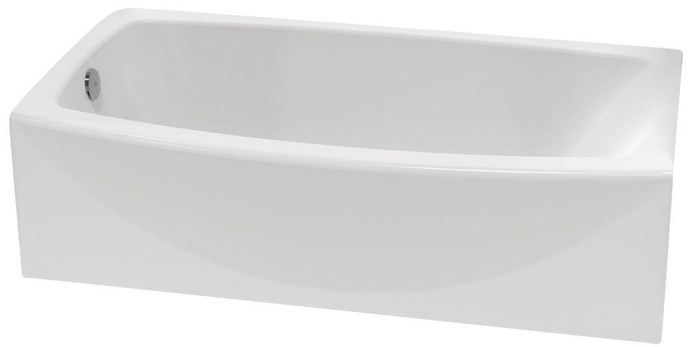 Cadet Acrylic Curved Bathtub With Right Hand Drain