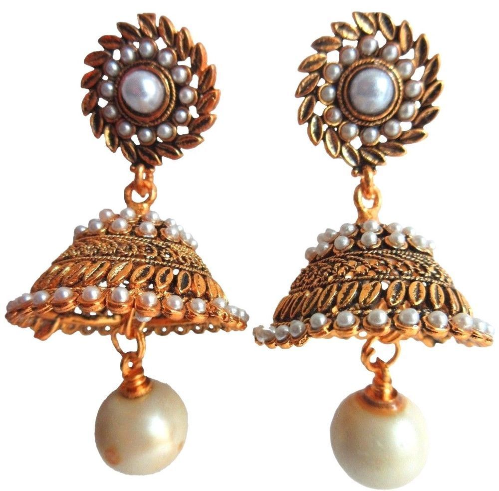 Goldtone 2pc Necklace Earring Set Traditional Indian Ethnic Bollywood Jewellery Jewelry & Watches