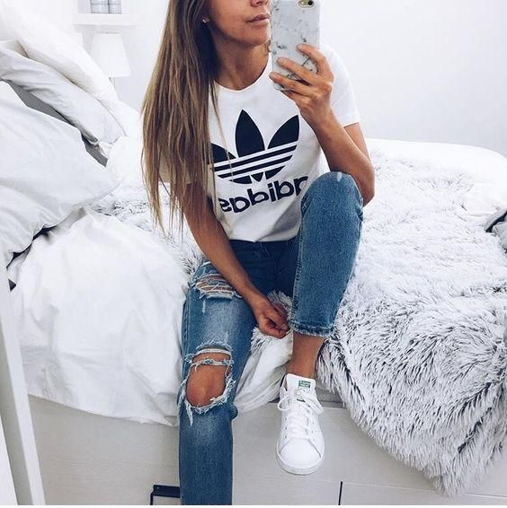 adidas tee and flannel and jeans, Adidas outfit ideas www