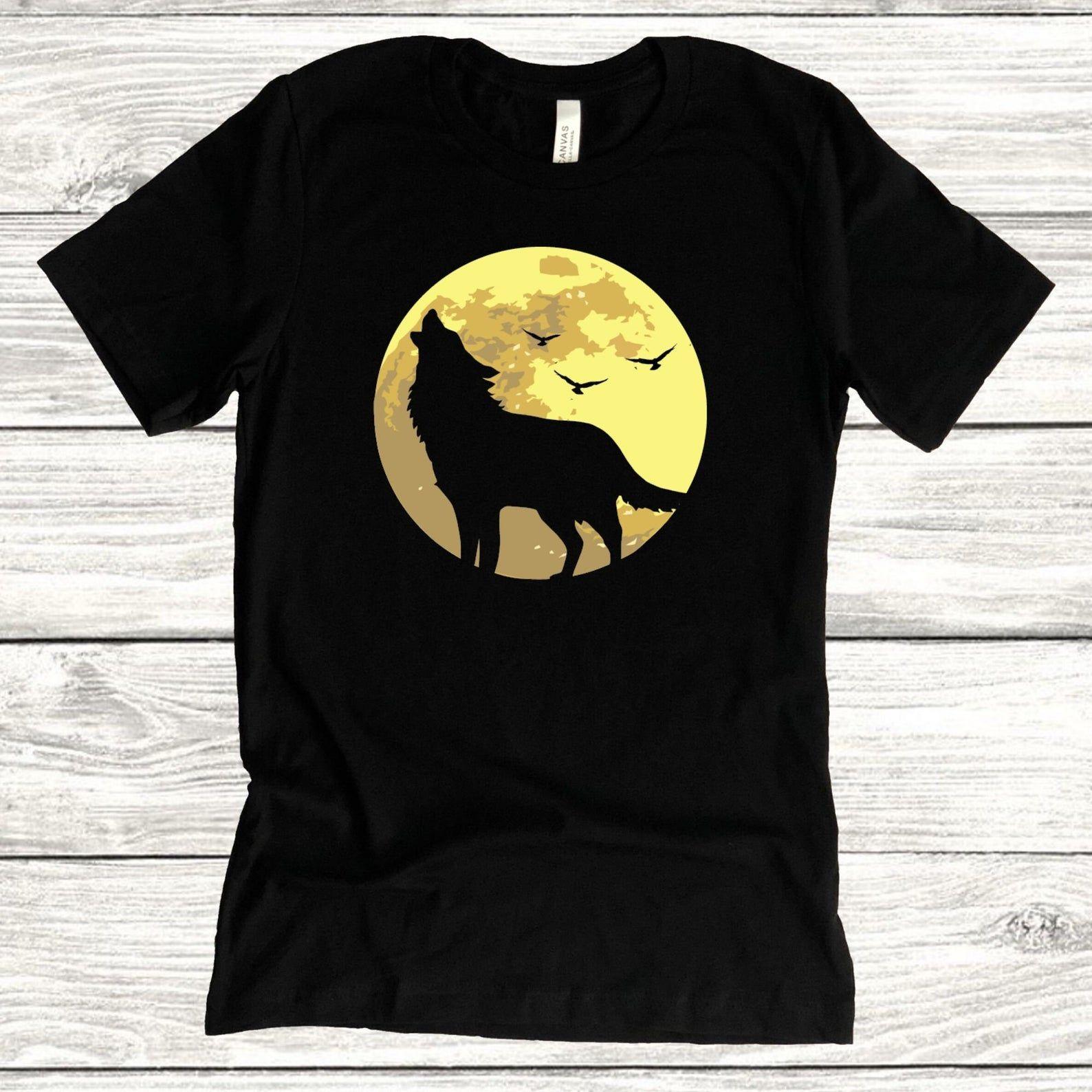 Wolf Howling In The Moon T Shirt Black Unisex Top Bella Etsy Black Shirt Animal Print Shirts Wolf T Shirt