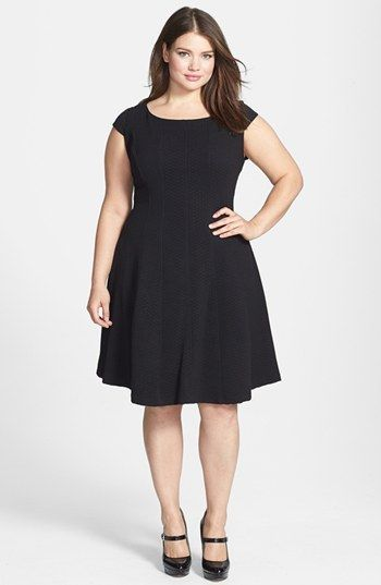 Nordstrom Taylor Dresses Textured Knit Fit Flare Dress Plus Size