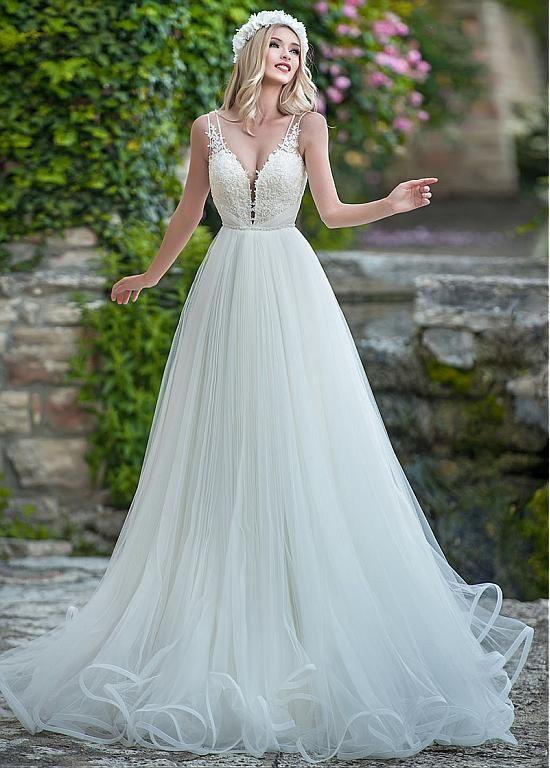 Buy discount Delicate Tulle V-neck Neckline A-line Wedding Dress ...