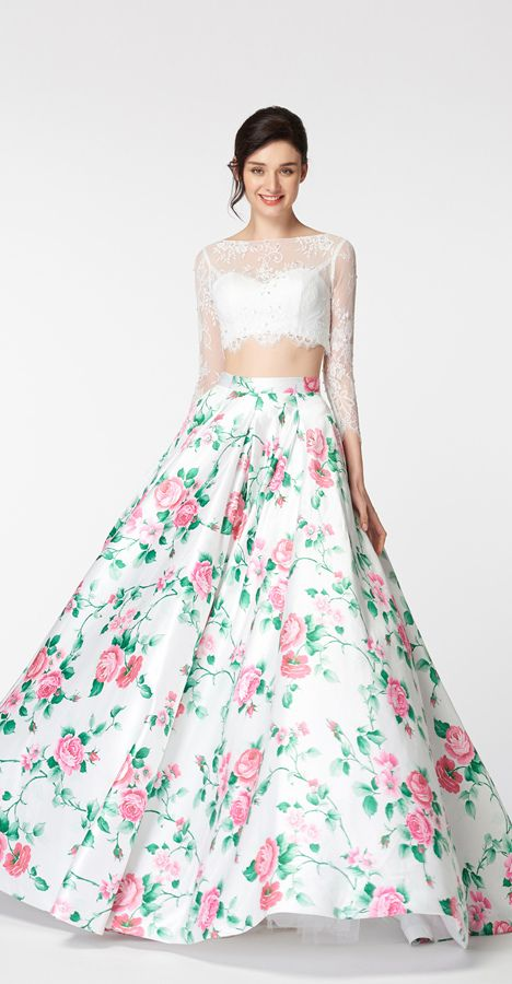 White Ball Gown Two Piece Floral Prom Dresses Long Sleeves ...