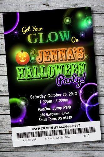 glow in the dark halloween party invitation ticket neon birthday