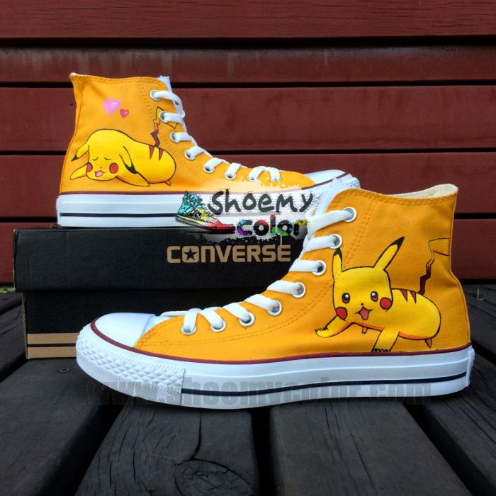 cc6f3bfdb467 Custom Pokemon Pikachu Pure Hand Painted Shoes Yellow High Top Converse  Canvas for Women Men