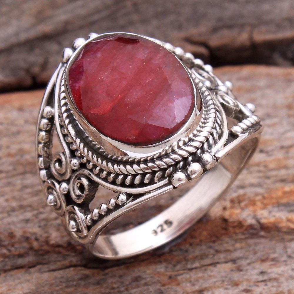 Sterling Silver And Ruby Ring Size 5.75