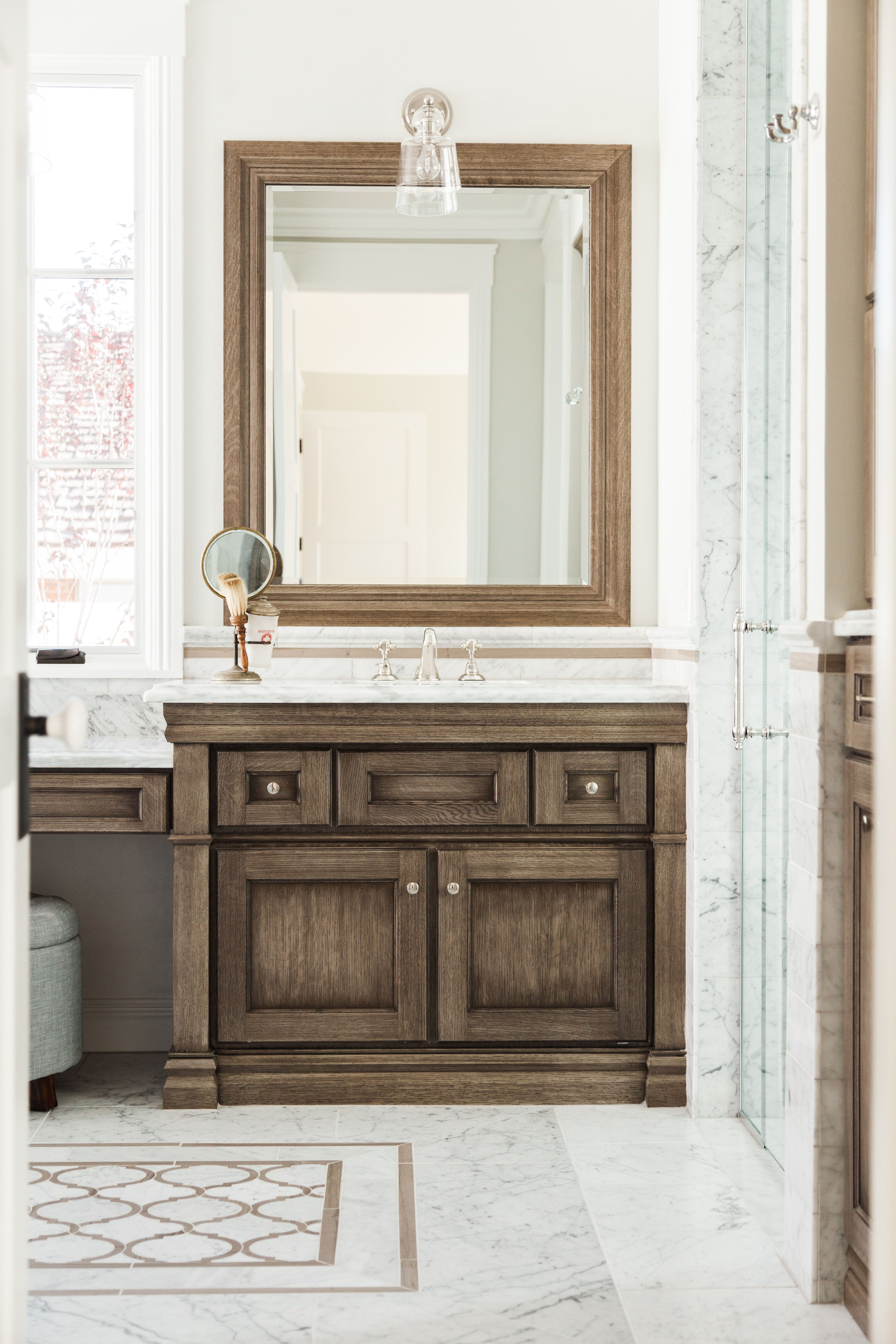 Custom Bath Vanity With Dark Wood Grain, Marble Countertop And Floor - By  Rafterhouse.