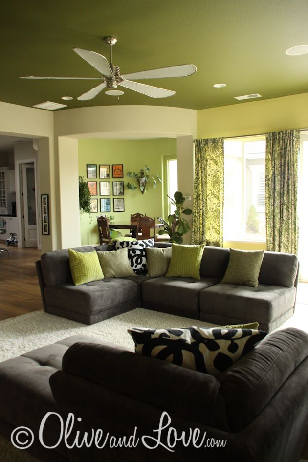 Olive and Love » New Wall Color | Dark green living room ...