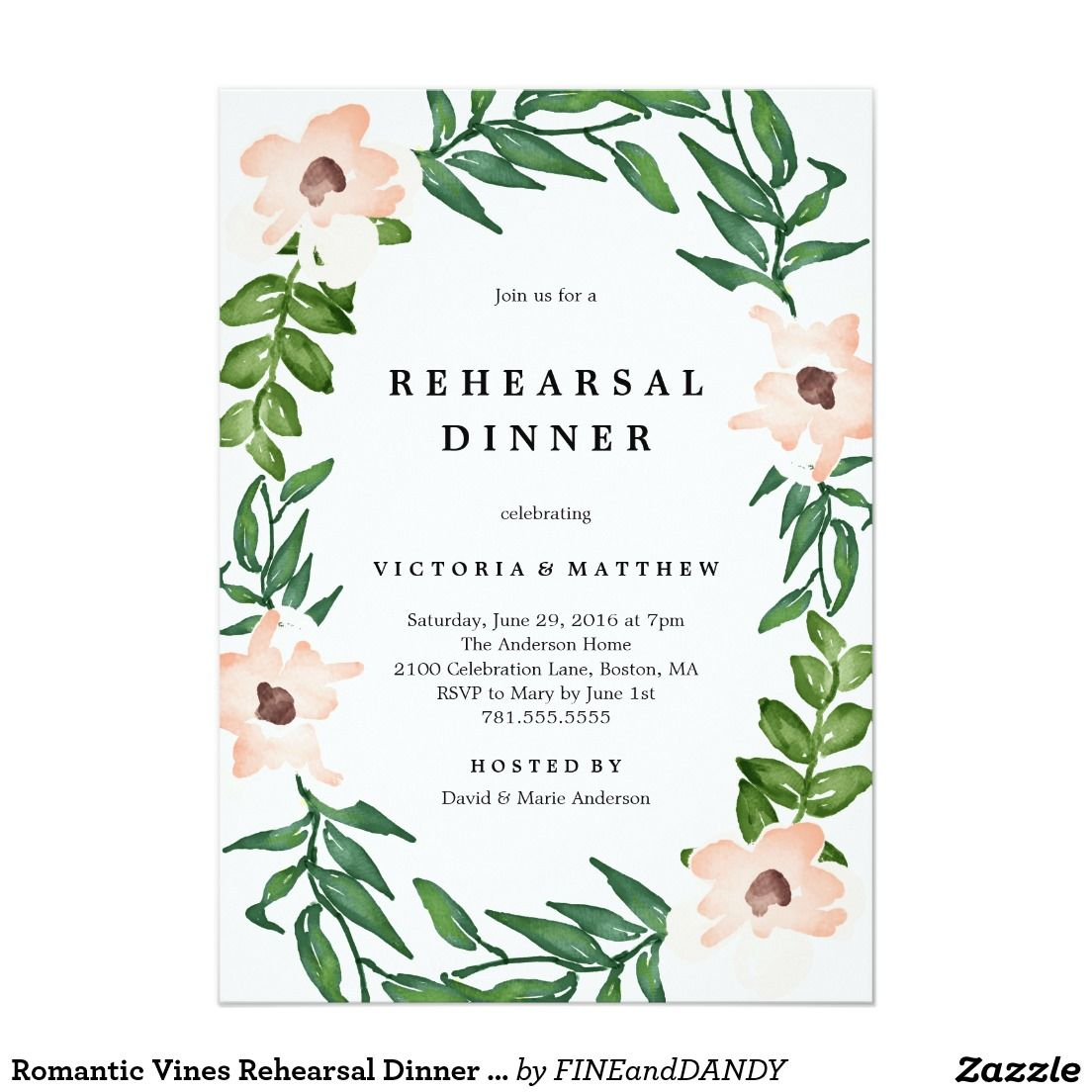 Romantic Wedding Invitation Wording: Romantic Vines Rehearsal Dinner Invitation