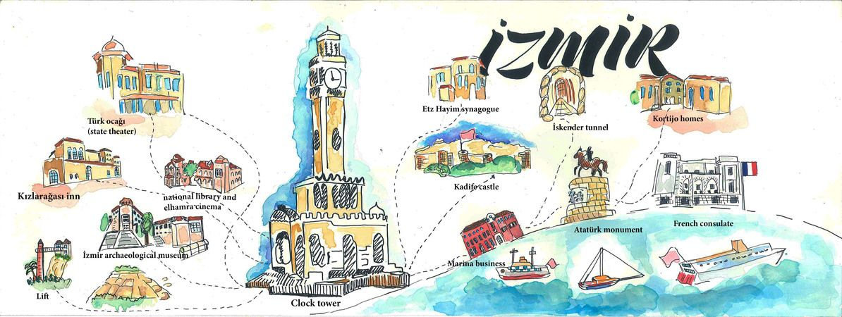 Welcome to zmir Turkey by Seza Keleolu illustrated maps