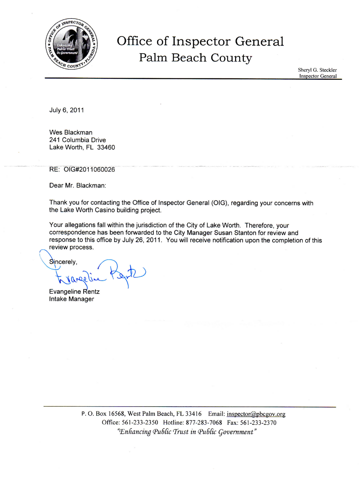 City Lake Worth Acknowledgement Letter From Inspector General How