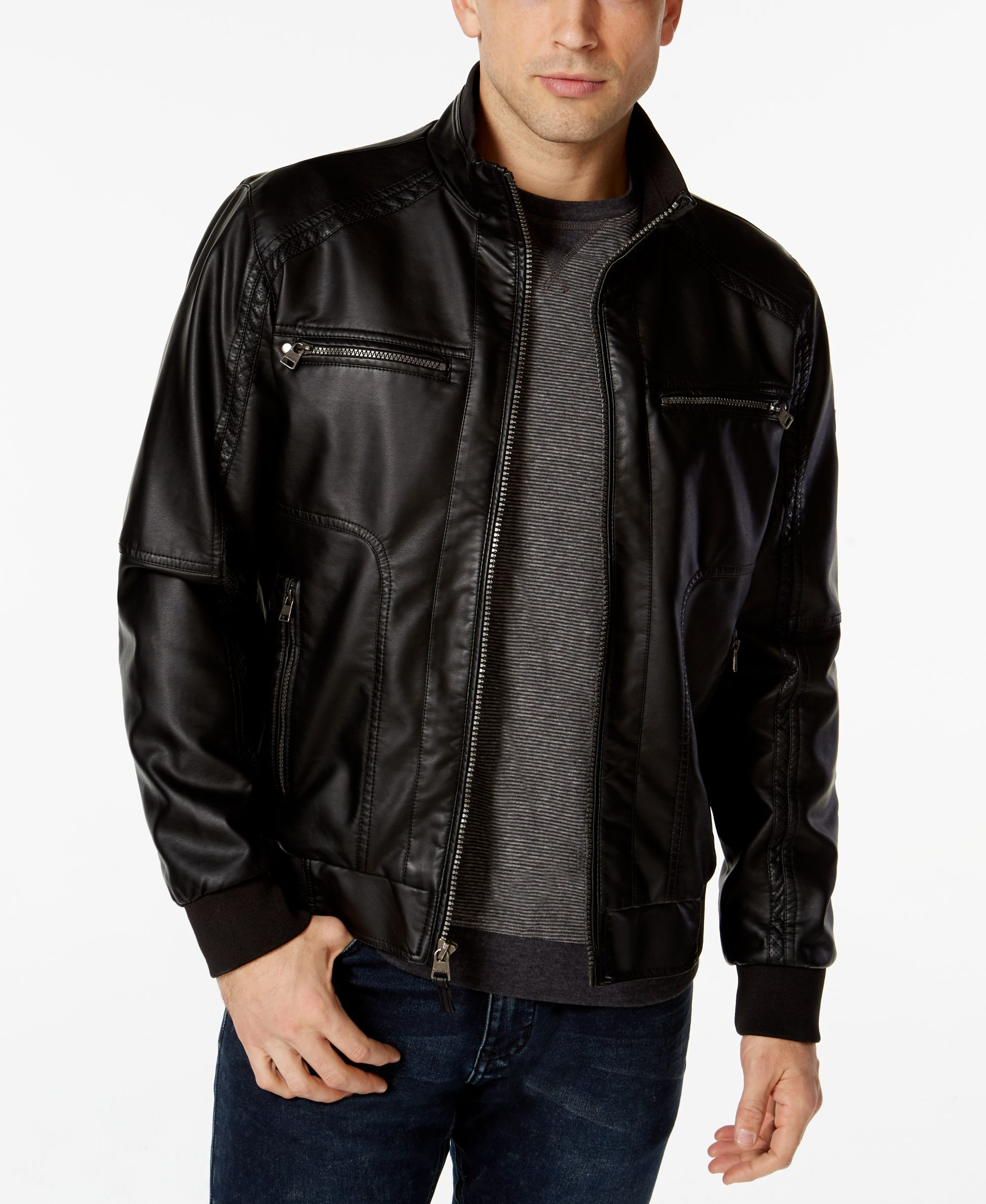 Calvin Klein Mens Faux Leather Bomber Jacket Coats Jackets Men Macy S Faux Leather Jacket Men Faux Leather Bomber Jacket Faux Leather Bomber [ 2378 x 1947 Pixel ]