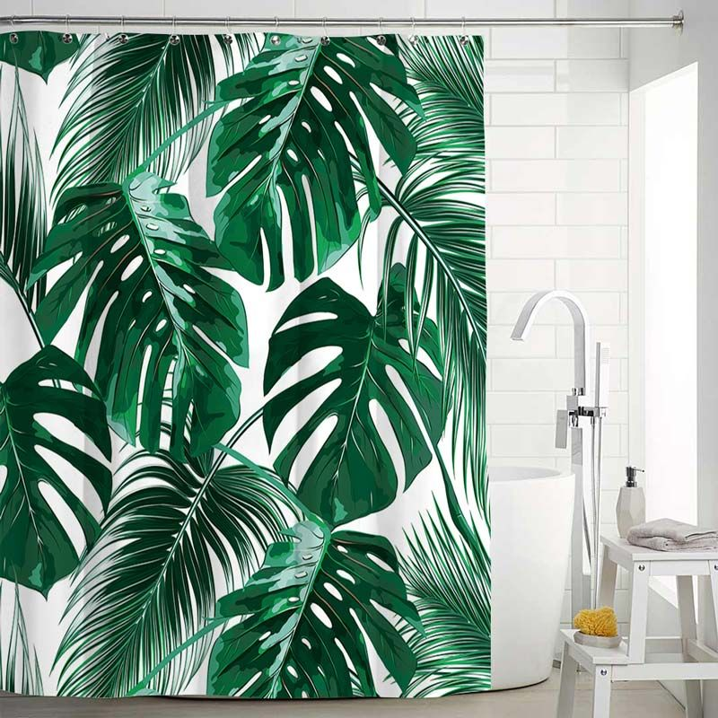 Waterproof Mouldproof Shower Curtain Modern Banana Leaves Printed Bath Curtain Tropical Decor Tropical Shower Curtains Shower Curtain Art