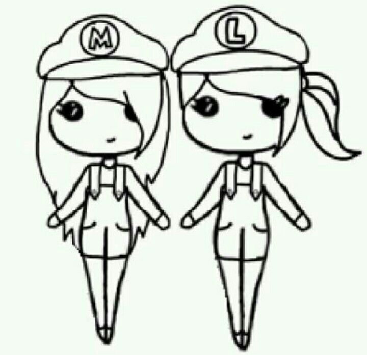 Girl Mario And Girl Luigi Drawings Pinterest Chibi Girl