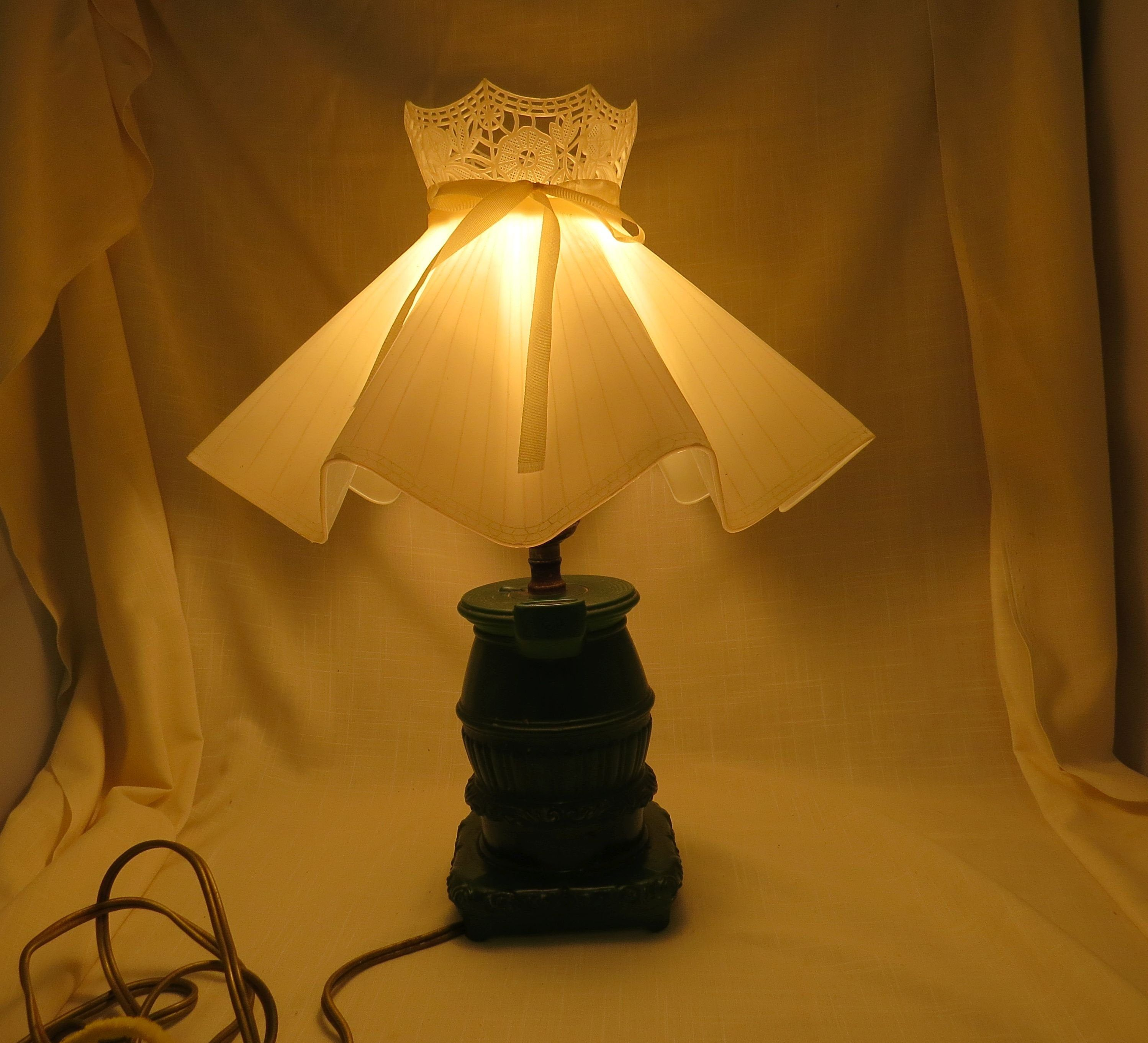 Vintage Potbelly Stove Green Glass Lamp Plastic Pierced Shade In 2020 Glass Lamp Lamp Green Glass