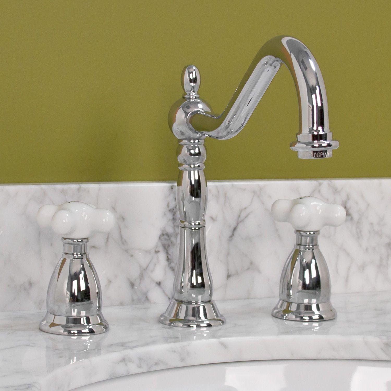 Victorian Gooseneck Bathroom Faucet With Small Porcelain Cross