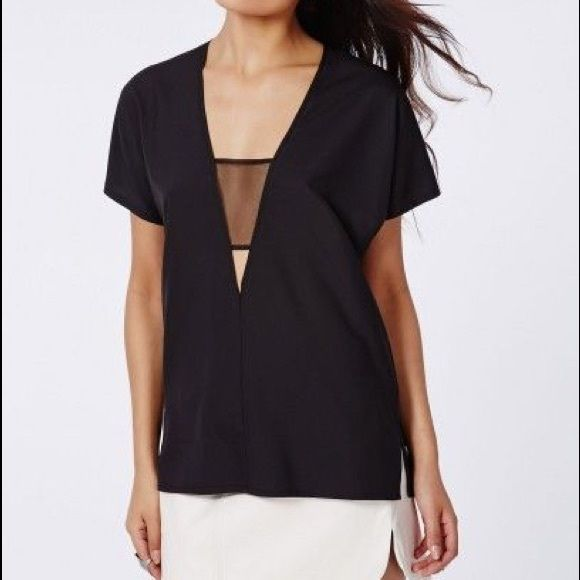 Missguided Hayley Mesh Insert Shell Top Brand new with tags Missguided top with mesh and cut out detail. Perfect for going out Missguided Tops