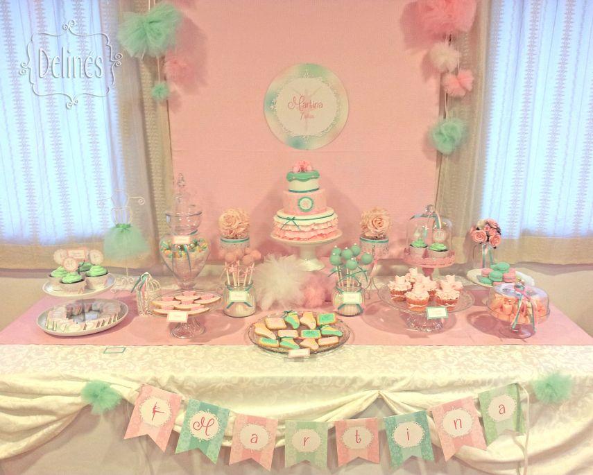 Un cumple para una bailarina especial tematica for Decoracion mesa dulce