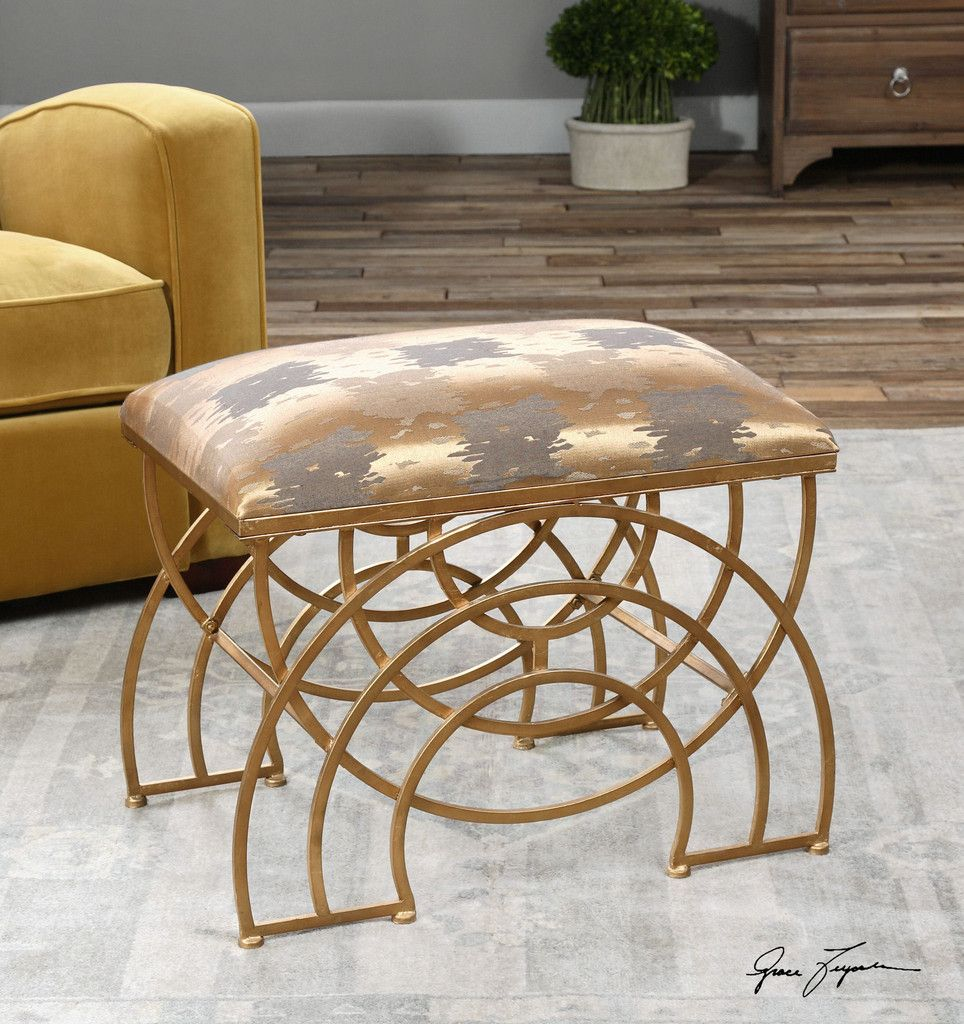 Marvelous Uttermost Marcedes Gold Small Bench Contemporary Furniture Cjindustries Chair Design For Home Cjindustriesco