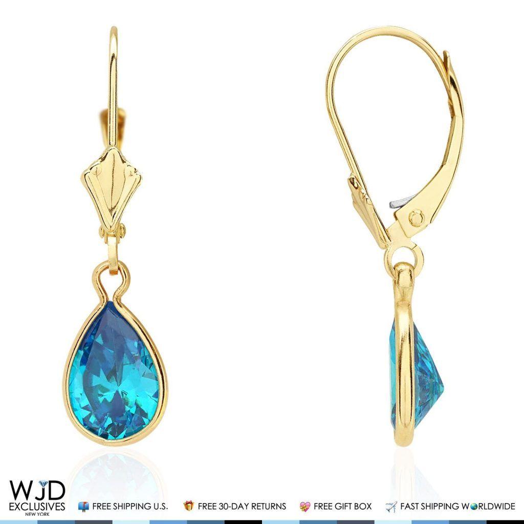 14K Solid White Gold Bezel Set Garnet Heart Leverback Dangle Earrings