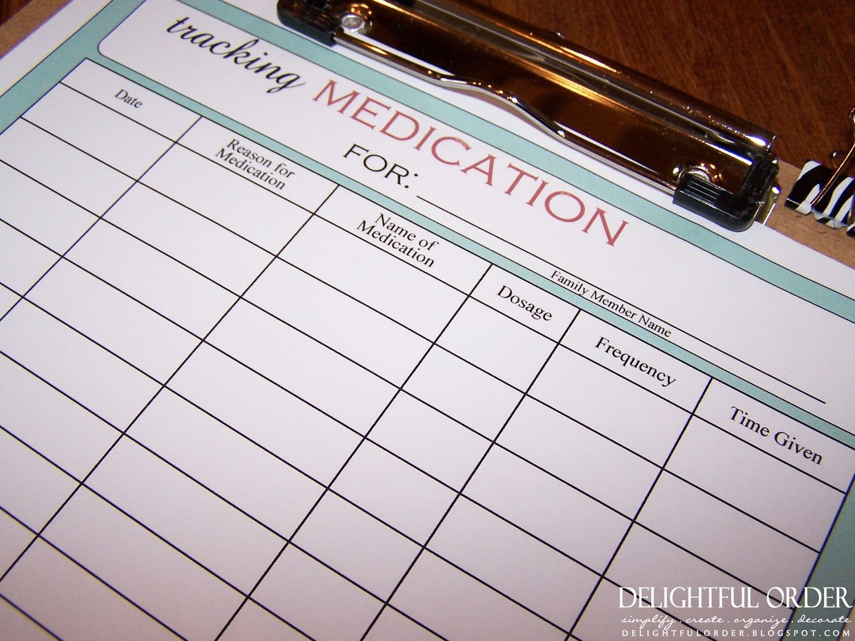 Tracking Medication Chart Printable File