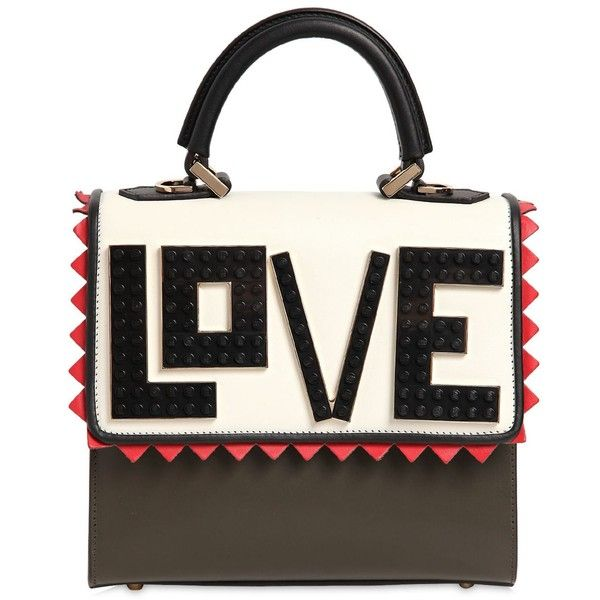 Les Petits Joueurs Women Mini Alex Love Leather Top Handle Bag (33800 TWD) ❤ liked on Polyvore featuring bags, handbags, shoulder bags, miniature purse, mini shoulder bag, white handbags, mini purse and white shoulder bag