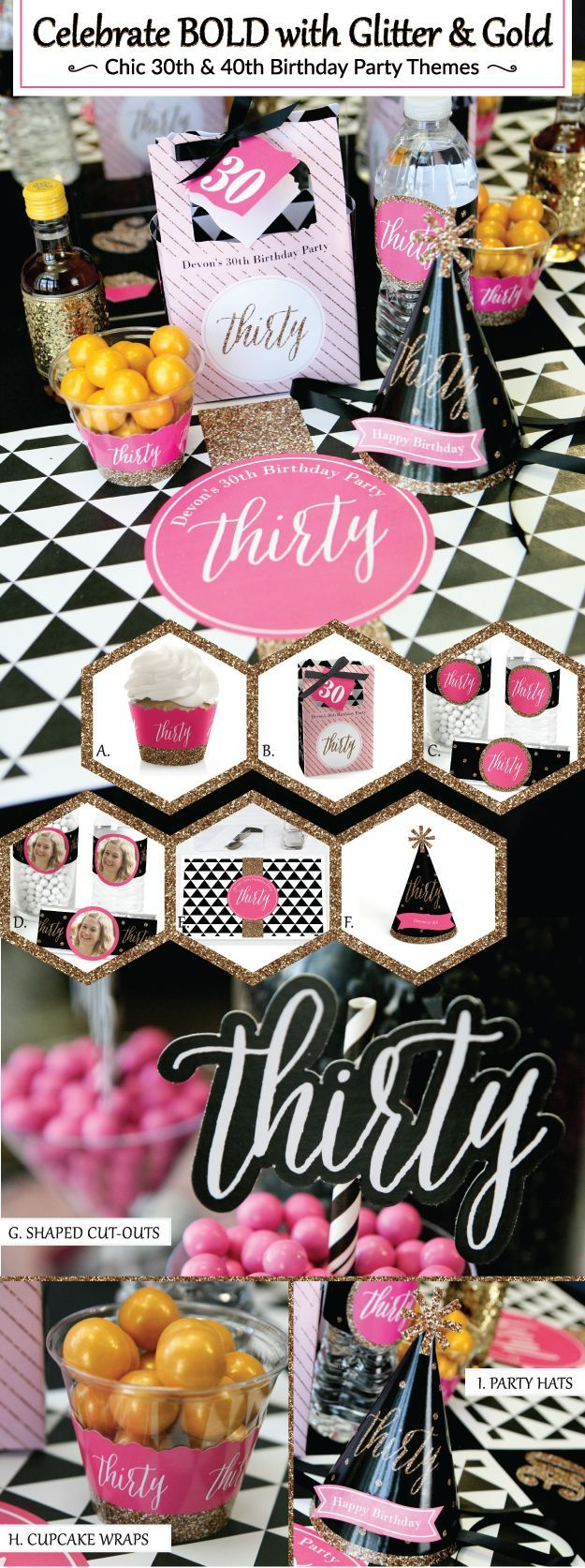 Chic 30th Birthday Party Decorations Black Pink theme from