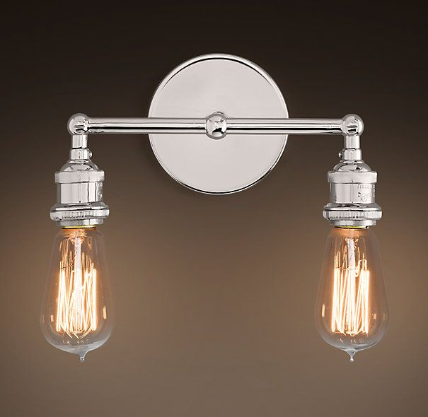 20TH C. FACTORY FILAMENT BARE BULB DOUBLE SCONCE - POLISHED NICKEL ...