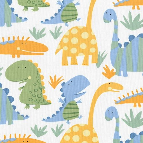 Cotton dinosaur fabric cute little dinosaurs in cheddar for Kids dinosaur fabric
