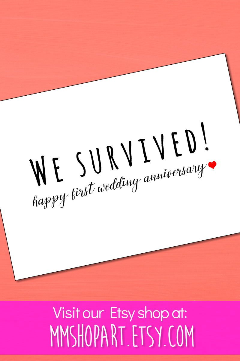 Funny 1st wedding anniversary cardyou survived card1