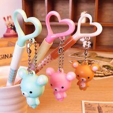 US Lot 3pcs Rilakkuma Bear Dangle charm Gel ink Pens Pen novelty Cute fun Kawaii