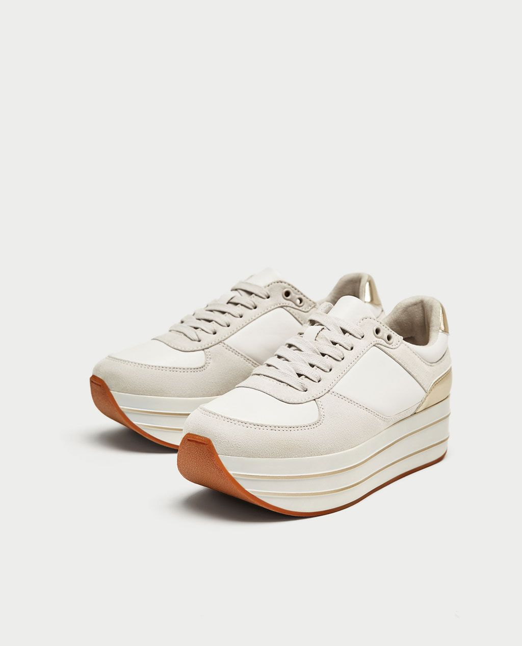 3e9a455ad91f Image 1 of PLATFORM SNEAKERS from Zara White Platform Sneakers