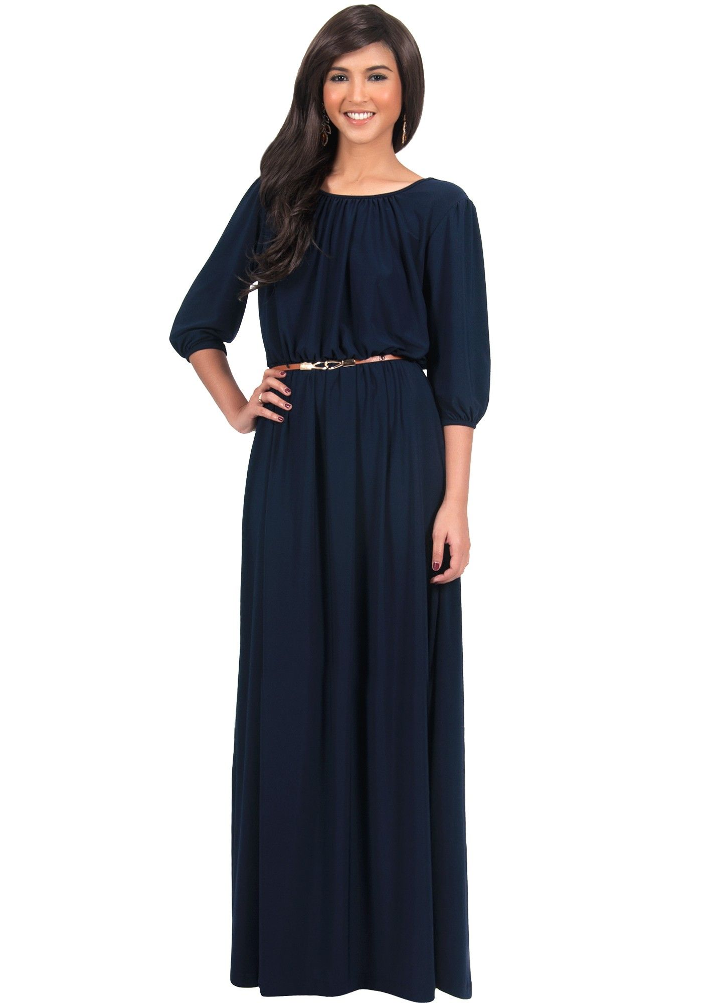 4c5d1b4a599dc IVY - Long 3/4 Sleeve Pleated Dressy Modest Peasant Maxi Dress Gown ...