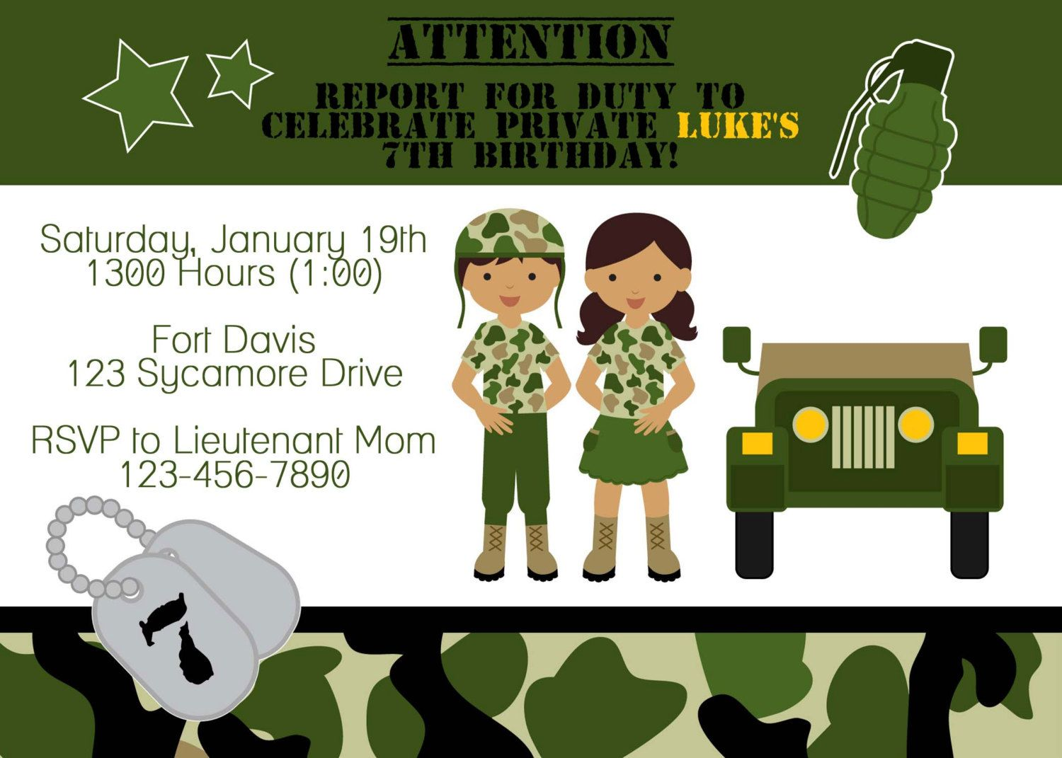 Army Soldier Birthday Party Invitation | Army Party | Pinterest ...