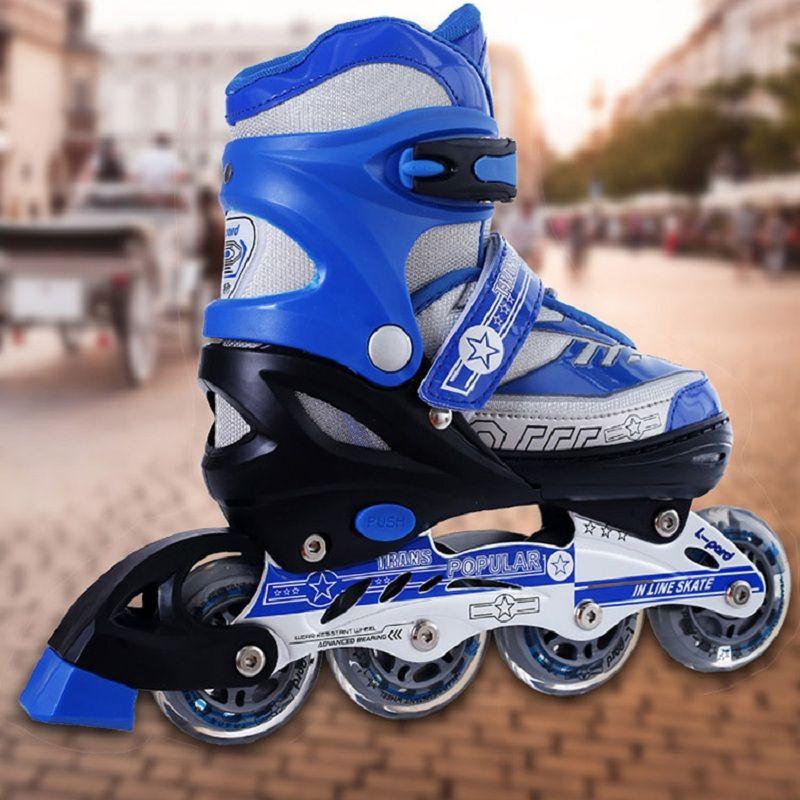 97d658bc5d5 Four Code Adjusting Single Brake sizeM PU Flash Wheel Single Row Variable  Double Row Child Skateboarding Roller Skate Full