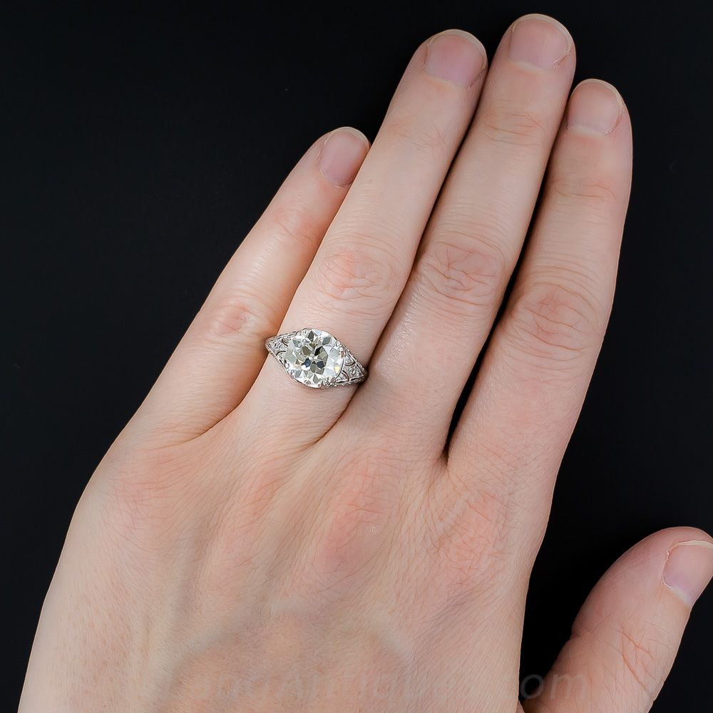 3.10 ct. Diamond Art Deco Engagement Ring with Calibre Sapphires ...