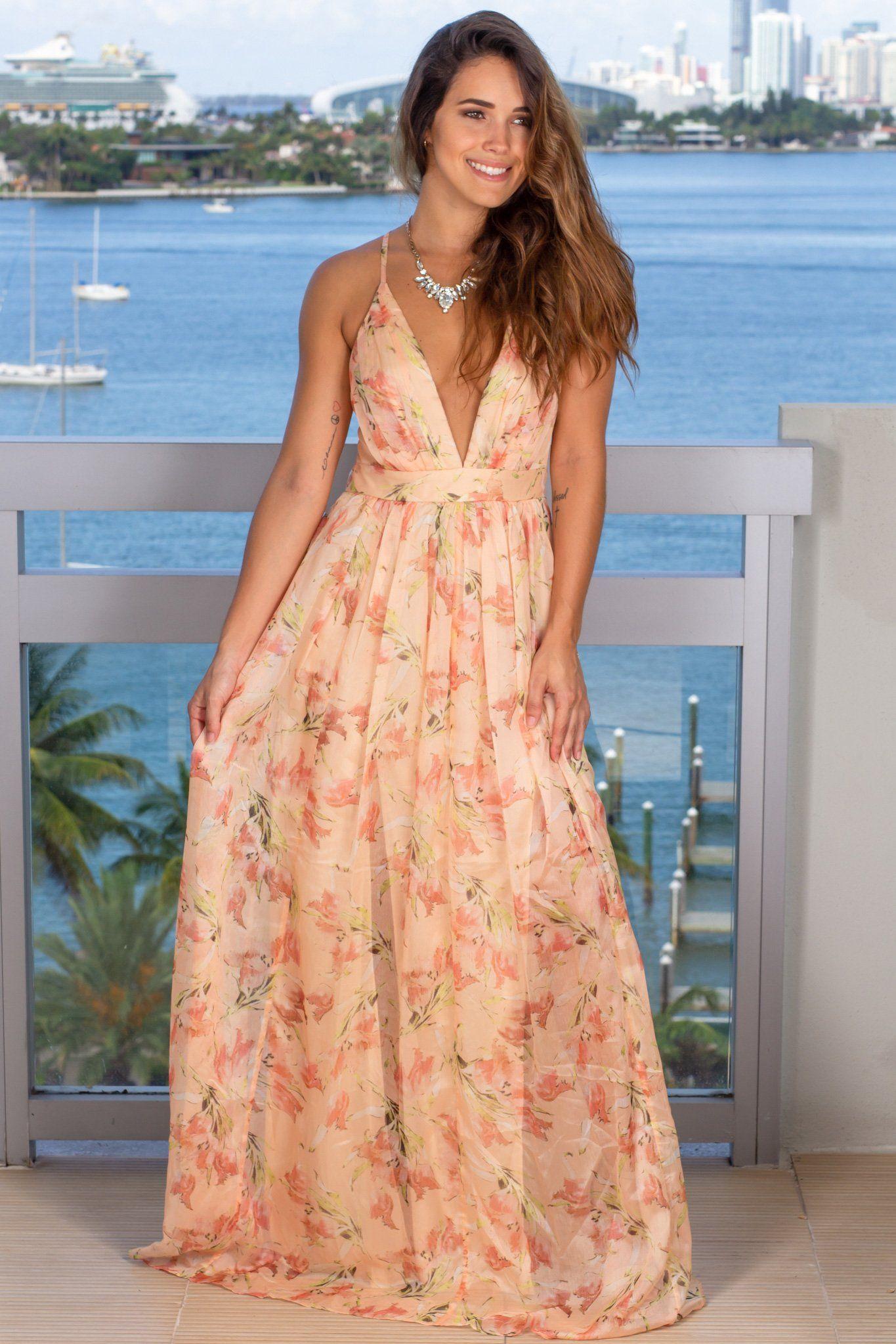 Peach Vintage Floral Maxi Dress Maxi Dress Dresses Floral Maxi Dress [ 2047 x 1365 Pixel ]