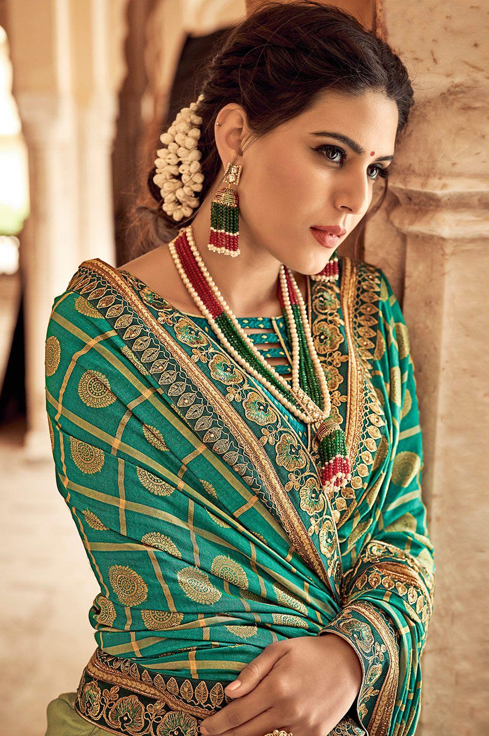 woven pallu designers saree Chanderi handloom silk saree saree blouse bridal saree jecard weaving saree green saree women/'s saree